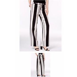 INC Black And White Stripe Wide Leg Pant
